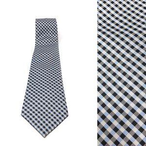 Banana Republic Blue, Gray & Black Silk Plaid Tie